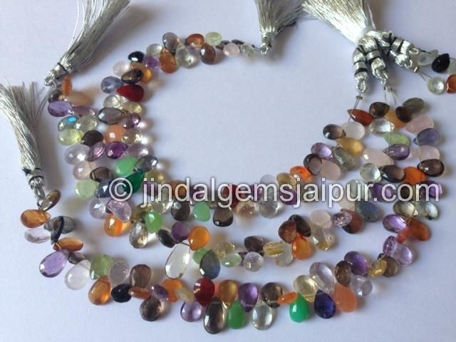 Multi Stone Faceted Pear Gemstone Beads.