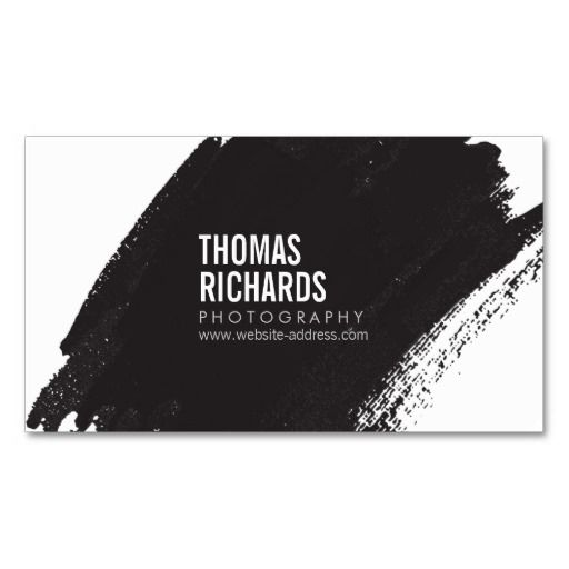 Black Ink Grunge Brushstroke Business Card Template - fully customizable front and back design. Click to personalize with your own info. Great for artists, creative professionals, crafters, photographers and more.