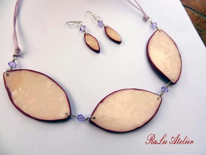 Polymer clay neckpiece and earrings assorted with Swarovski crystals