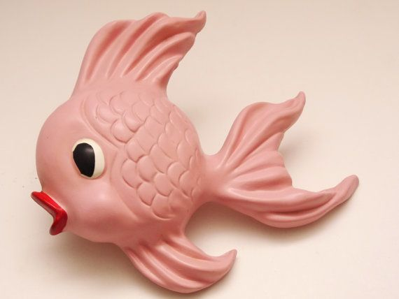 Vintage Porcelain Kitsch Fish Decoration  Pink  by ASweeterTime, $15.00