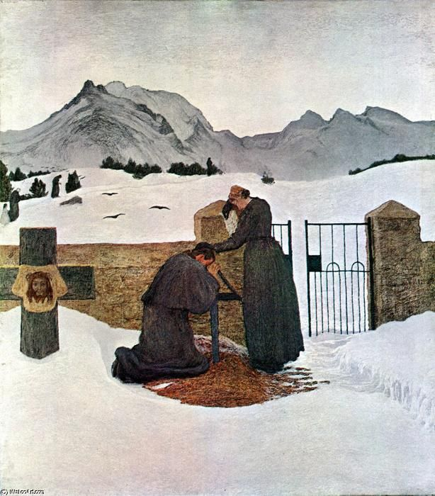 'The pain of mourning (also known as Il dolore confortato dalla fede)', 1895 by Giovanni Segantini (1858-1899, Austria)