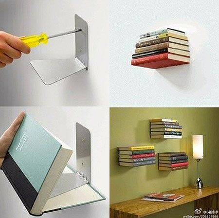 #DIY Bibliotheque invisible / How to Make an Invisible Floating Bookshelf. Looks awesome!