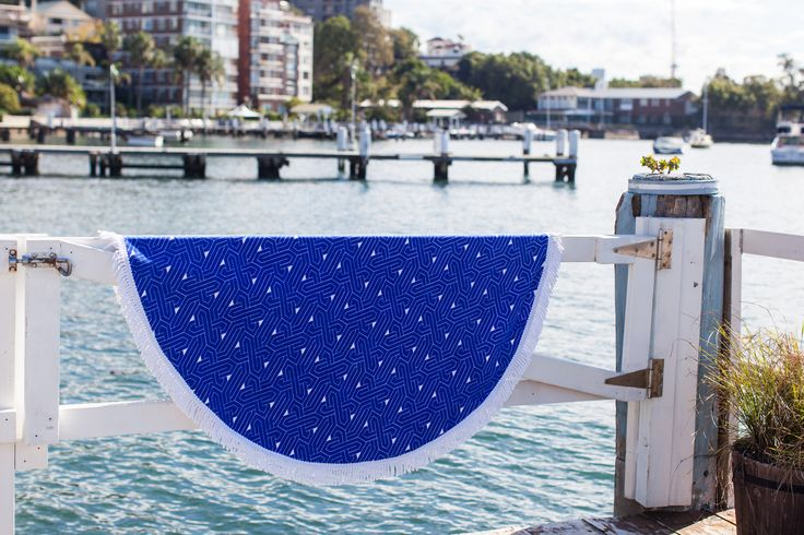 our new round beach towels: New York in dazzling blue