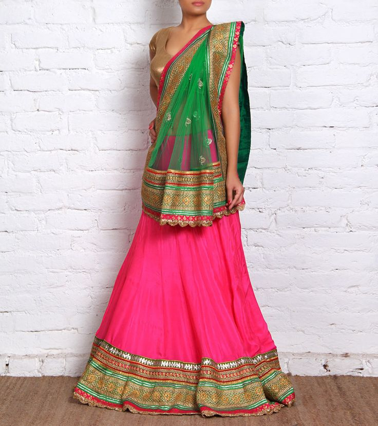 Pink Crepe Lehenga Set with Gota Work