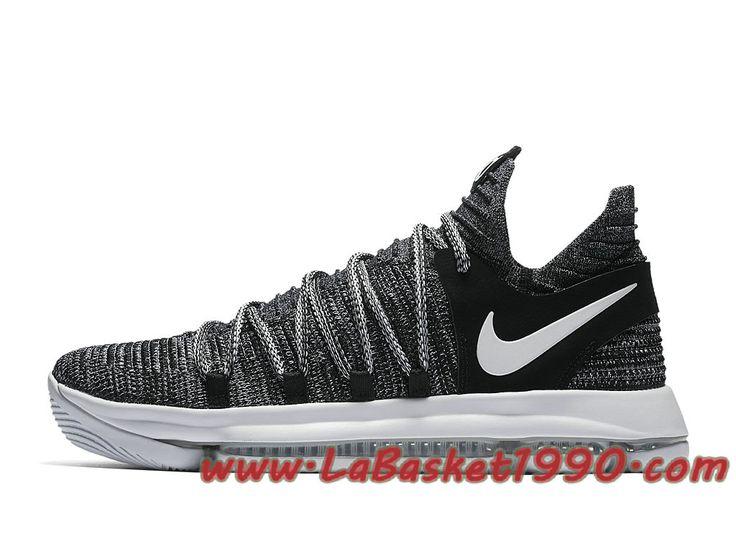 Nike KD 10 Oreo 897815-001 Chaussures Nike Basket Pas Cher Pour Homme Gris Blanc