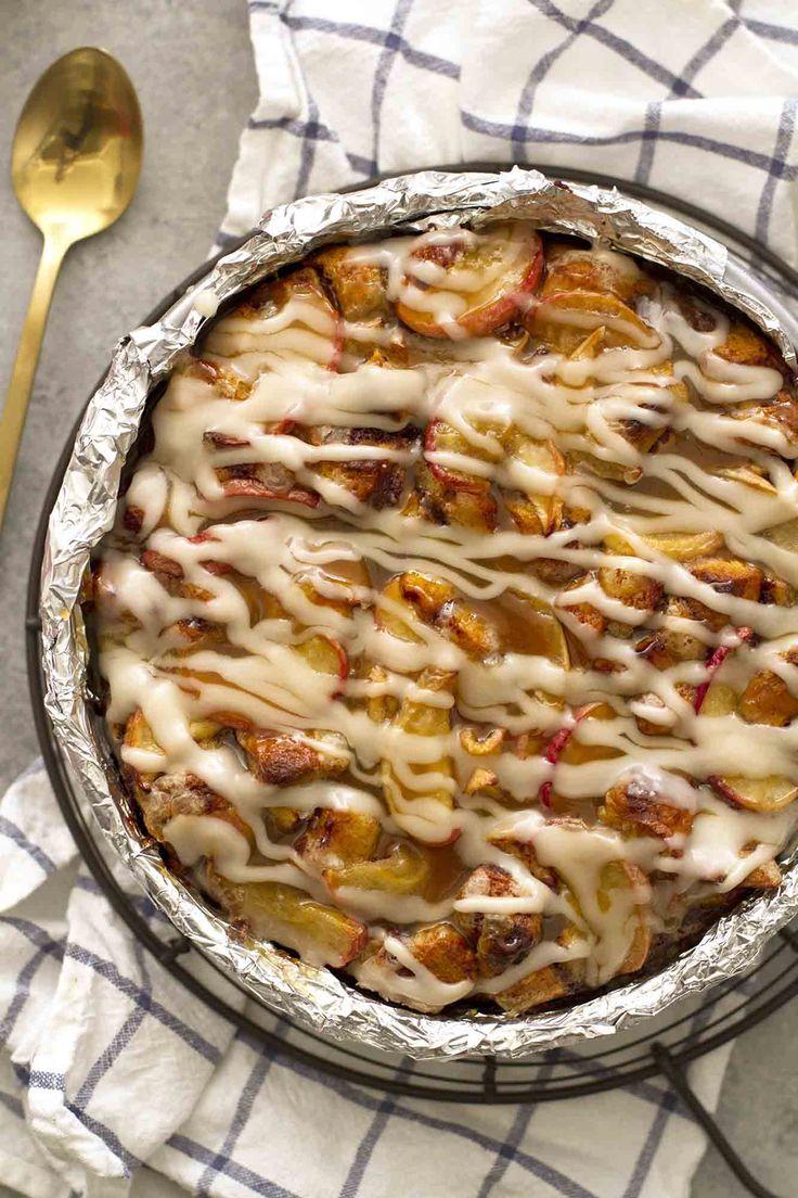 Caramel Apple Cinnamon Roll Breakfast Bread Pudding |  girlversusdough.com @girlversusdough