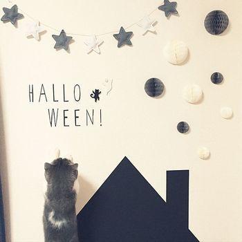 かわいい字体の「HALLOWEEN」。星のガーランドやハニカムボールも壁に飾って、ねこちゃんもいじりたくなるくらいキュートなデコレーションに!