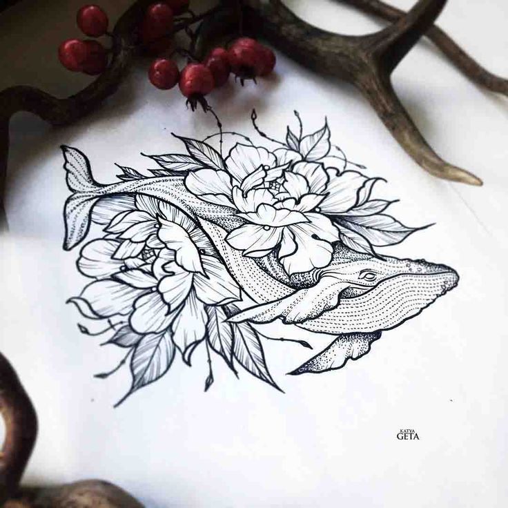 whale tattoo design with flowers