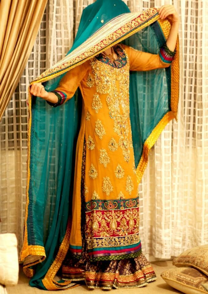 Mehndi outfit minus the pink. Just mustard and teal. Love the teal dupatta.