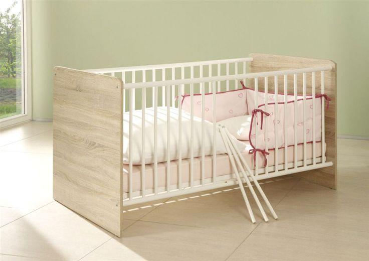 Babybett Milu weiß/Eiche sonoma 74 x 80 x 144 cm