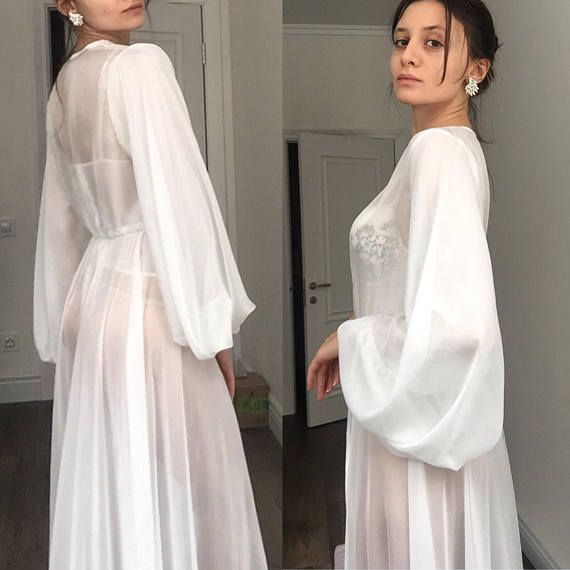 3ae71a9cc91c See through robe/ Chiffon Bridal Robe/ Chiffon robe/ Long Chiffon ...