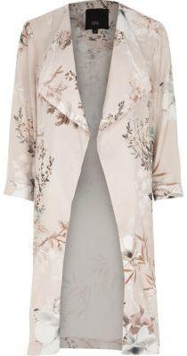 Shop Now - >  https://api.shopstyle.com/action/apiVisitRetailer?id=653102134&pid=uid6996-25233114-59 River Island Womens Grey floral print side split duster coat  ...