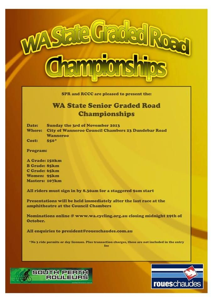 RCCC and SPR are pleased to present the WA State Graded Road Championships. A State Champions jersey and medal wil...  | http://www.event2me.com/6340310