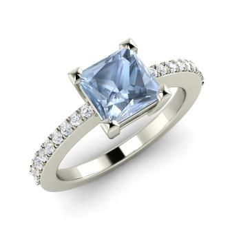 Princess-Cut Aquamarine Engagement Ring in 14k White Gold with SI Diamond