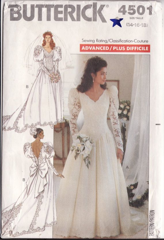 Wedding Dress Pattern Butterick 4501 Bridal Gown With
