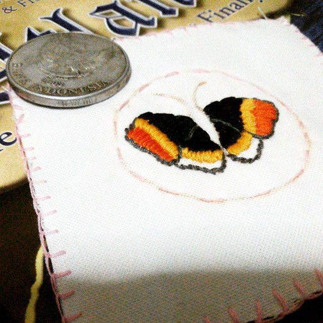 Part 2 #WIP  Left wing is not symetrical to the right one. (T.T)  I'm lame with drawing animals but with this kind of #embroidery , should i call myself as artist? :) #butterfly