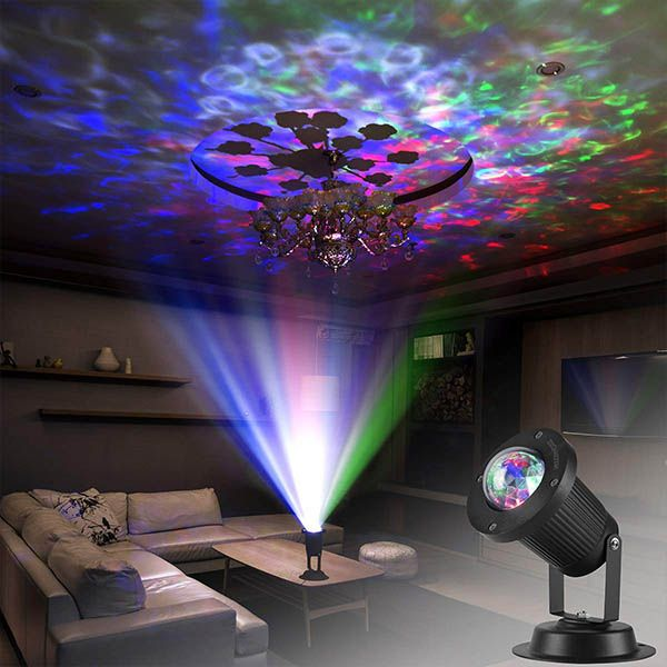 Zeonetak Colorful Water Wave Led Projector Light Water Wave Ripple Effect Automatically Moving Create Led Projector Lights Led Party Lights Led Night Light