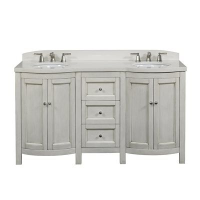 allen + roth Moravia Antique White Undermount Bathroom Vanity with Engineered Stone Top 60-in x 20-in  Antique white finish with engineered stone topPre…