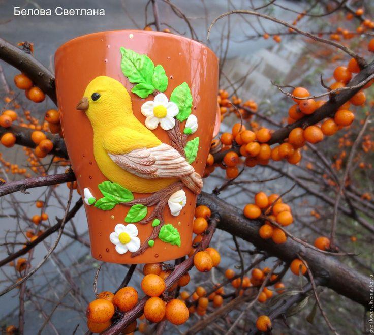 Купить Кружка Птичка из полимерной глины - оранжевый, терракотовый, жёлтый, кружка с птичкой