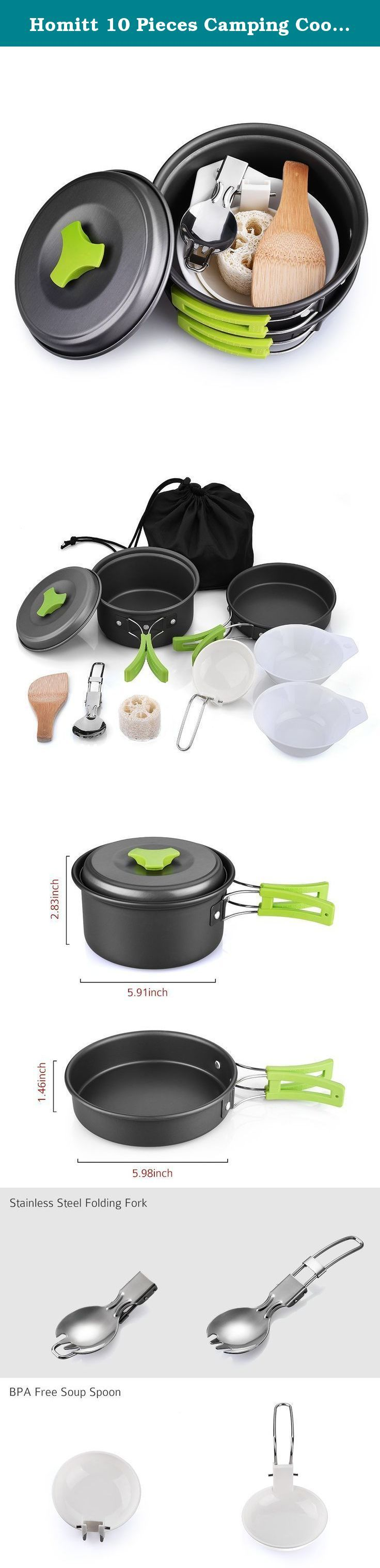 Homitt 10 Pieces Camping Cookware Mess Kit Portable Bowl Pot Pan Cookset for Outdoors, Backpacking, Hiking, Picnic. let's get into the wild! Getting bored at home? Wanna leave the busy crowd for couple of days? Or you are a lover of camping, backpacking, hiking, and picnic? Why not get into the wild? Start your adventure with purchasing our Homitt 10- Piece Camping Cookware Mess Kit! Made for Two This portable lightweight cooking set is suitable for using of 1-2 peoples. Specification...