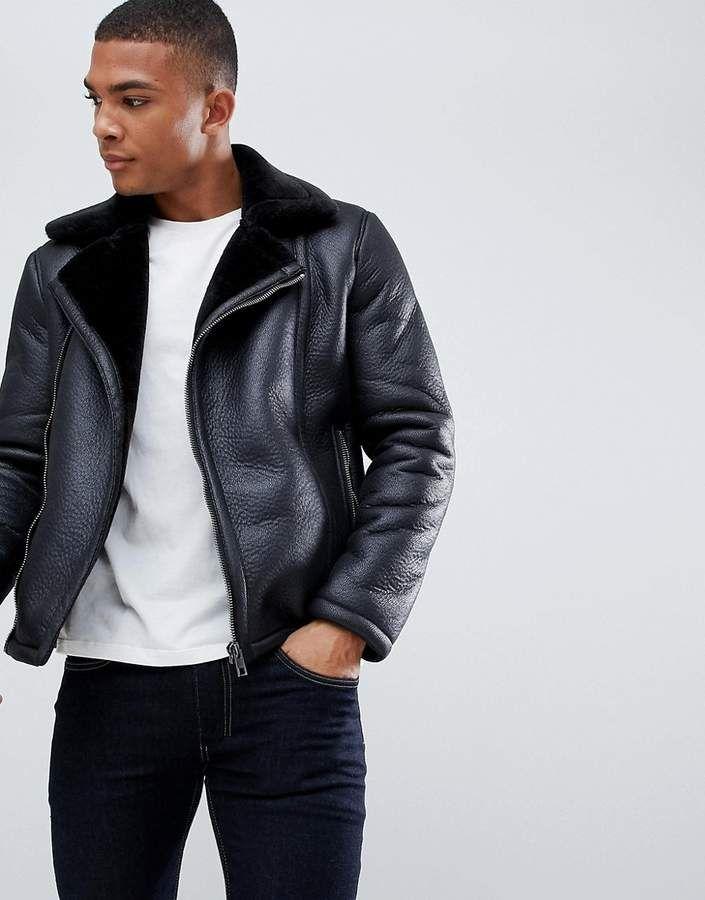 New Look Faux Shearling Biker Jacket In Black Fashion Mensfashion Menswear Streetstyle Style Ou Jackets Men Fashion Leather Look Jackets Stylish Jackets