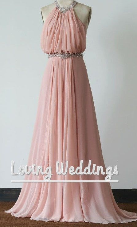 Casual pink hater long bridesmaid dress elegant wedding party dress beaded…