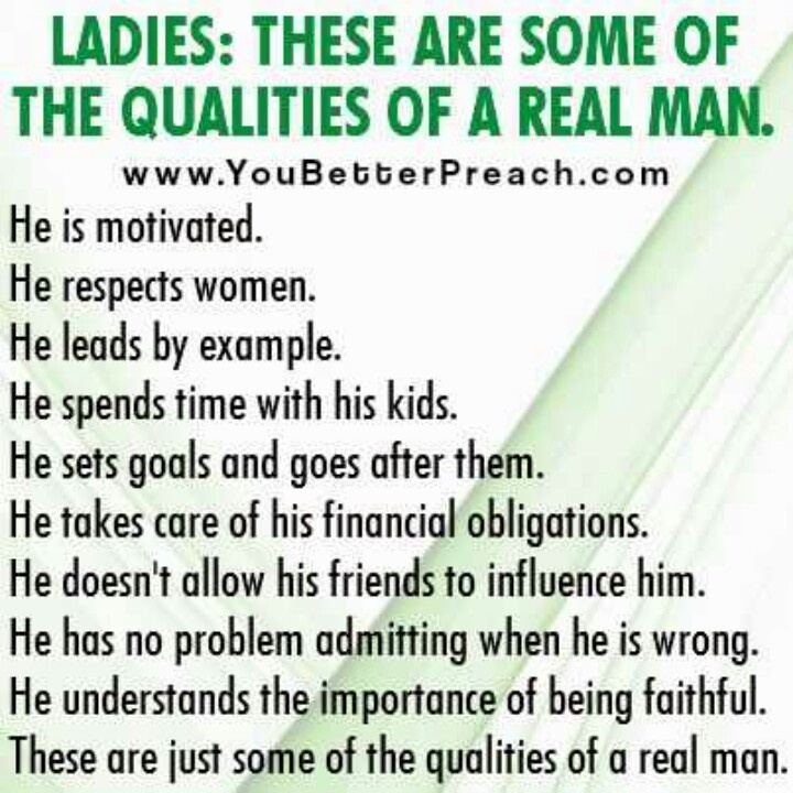 Traits Of A Real Man