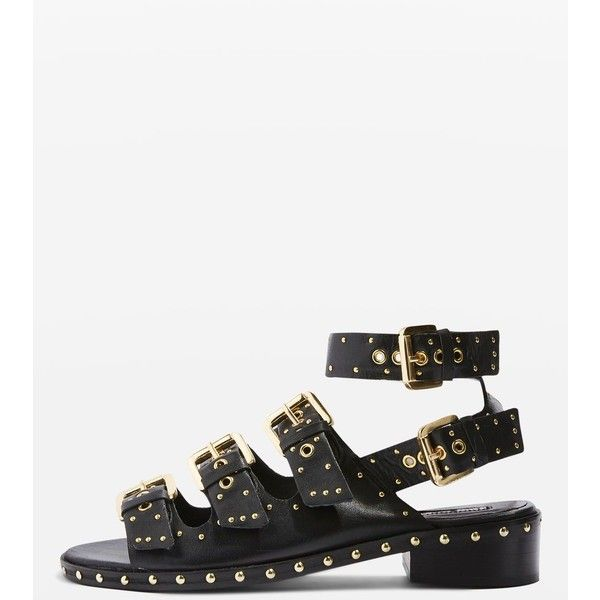Topshop Frank Buckle Sandals (1.337.650 IDR) ❤ liked on Polyvore featuring shoes, sandals, black, buckle sandals, black studded sandals, ankle tie sandals, black leather shoes and evening sandals