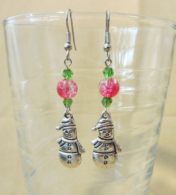 Handcrafted Red & Green Silver Snowman Christmas Earrings ...