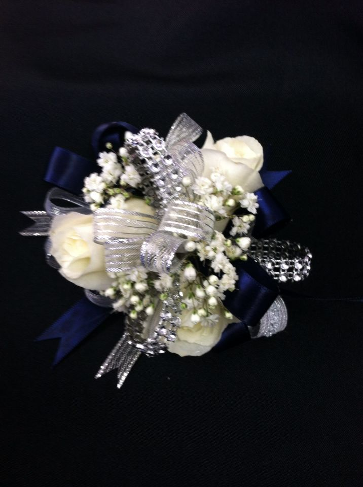 Navy And Silver Ribbon With White Roses Homecoming