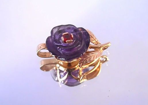 HAND CARVED AMETHYST FLOWER SET IN SOLID 14KT GOLD WITH SONGEA RED SAPPHIRE$225.00 Plus $4.95 shipping registered mail from our thailand office delivery time 12-25 days delivery guarenteed .I am kenneth Barnett american living in Thailands largest cutting center and gemstone market.I deal in all semi preciouse and precious gems  of all types . Let me know if you need any gem singles or lots. thank you Your american Friend Kenneth Barnett  in chanthaburi Thailand worlds largest gem cutting…