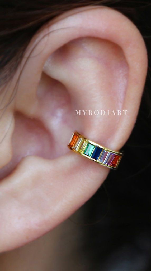 5213e2573e1a2f Sugar Rainbow Gemstone Crystal Baguette Ear Cuff Earring in Gold in ...