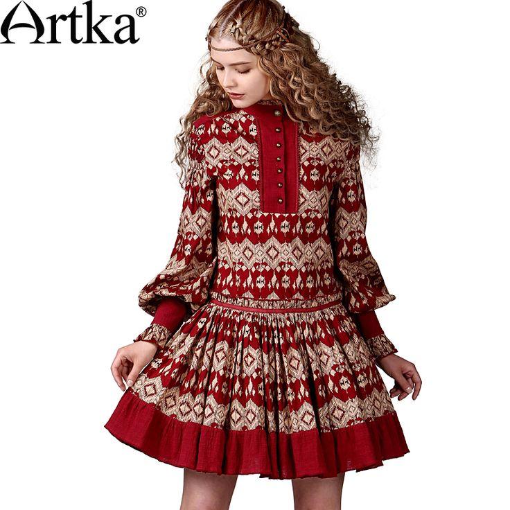 Платье в деревенском стиле с широкими присборенными рукавами и плиссированным низом