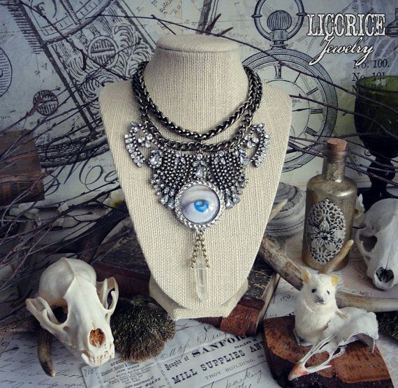 Victorian Mourning Lover's Eye Tear Rhinestone by LicoriceJewelry $75