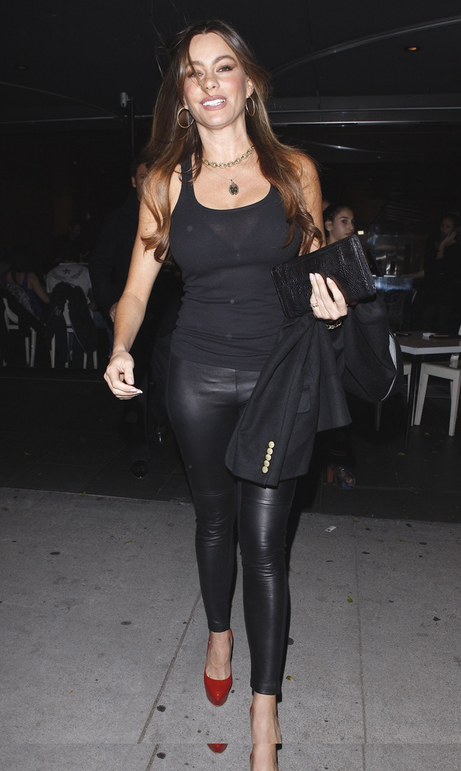 I definitely need some leather pants. Sofia Vergara rockin' 'em! #fashion #style: Red Healing, Real Women, Fashion Styles, Vergara Style, Red Heels, Celebs Style, Actresses Red, Celebrity Leather, Leather Pants