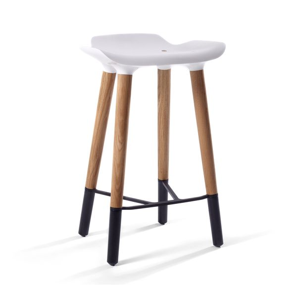 Pluto Danish Modern Counter Stool with White Seat