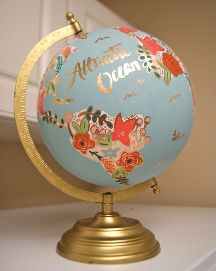 "Custom 12"" World Globe, Hand Painted Flowers, Gold Stand, Flower Map by…"