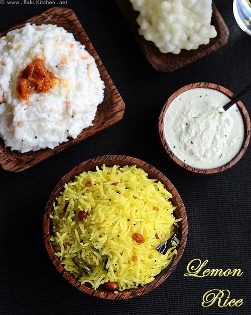 Delicious and colorful lunch: Combination of Lemon Rice, Curd Rice with Mango Thokku, homemade Javvarisi Vadam and Coconut Chutney!