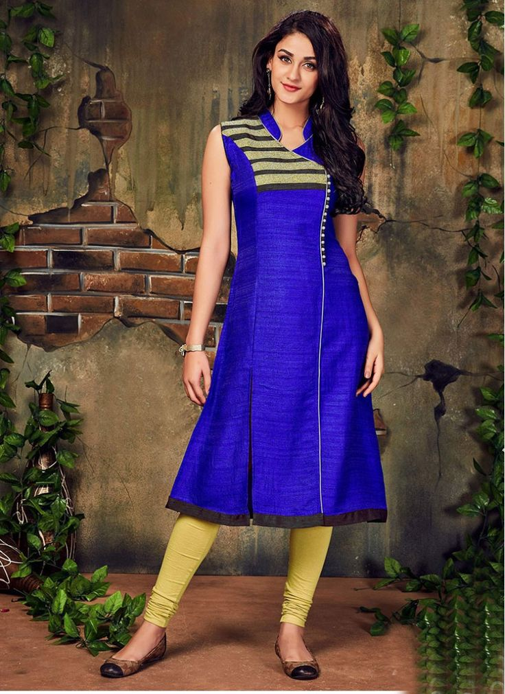 Epitome Lace Silk Blue and Yellow Decent Indian Salwar Kameez
