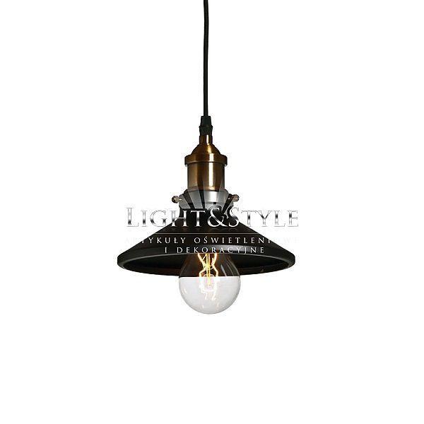 Wisząca lampa industrialna Shawshank 1 z mosiężnym wykończeniem, Light&Style  Kabel w oplocie Materiał: metal, mosiądz Średnica 19cm Wysokość 17cm E27 60W