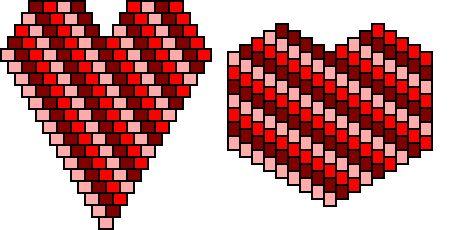 brick stitch heart pin pattern- diagonal stripes