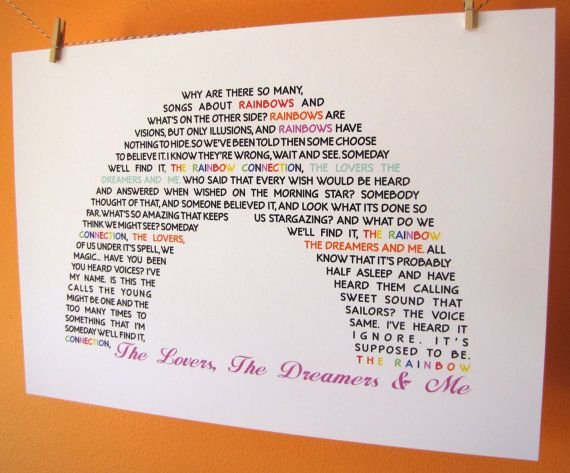 The Lovers The Dreamers and Me Rainbow Connection Lyrics A4 Size Art Poster Print on Etsy, $16.24 AUD