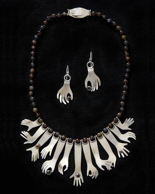 Ahlene Welsh. 'Hands Down, 2008'. Sterling silver, iolite, garnet, tourmaline, citrine, stone beads