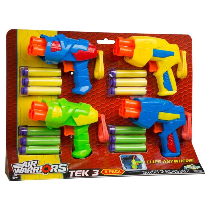 Buzz Bee Toys Air Warriors Tek 3 Blaster Four Pack