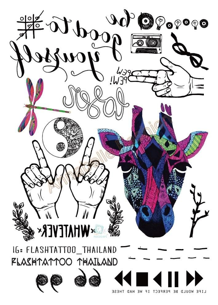 A6080-202 Taty tatuagem Body Art Tatuaje Temporal Pegatinas Grande Negro Arco Iris Deer Head Mano Pistola de Brillo Del Tatuaje Etiqueta