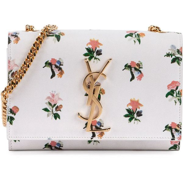 Saint Laurent Monogram Prairie Flower Small Crossbody Bag found on Polyvore featuring bags, handbags, shoulder bags, purses, white multi, monogrammed crossbody purse, crossbody flap purse, flower handbag, flap crossbody and monogram handbags