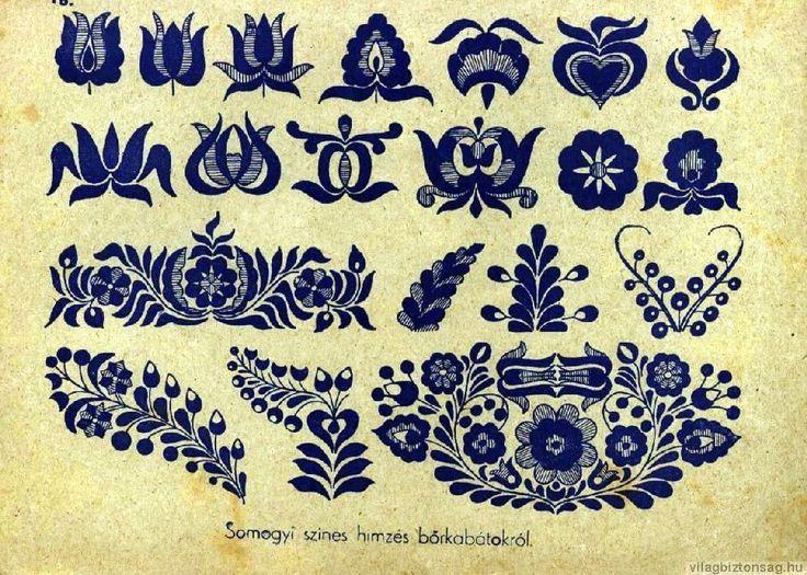 Magyar népi motívumok - Magyar motívumok - Világbiztonság, Somogyi minta, Hungarian folk art, flowers, motifs