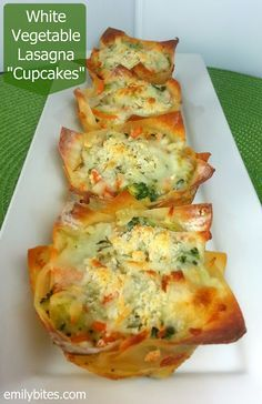 "Made these last night... Amazing!! Emily Bites - Weight Watchers Friendly Recipes: White Vegetable Lasagna ""Cupcakes"""