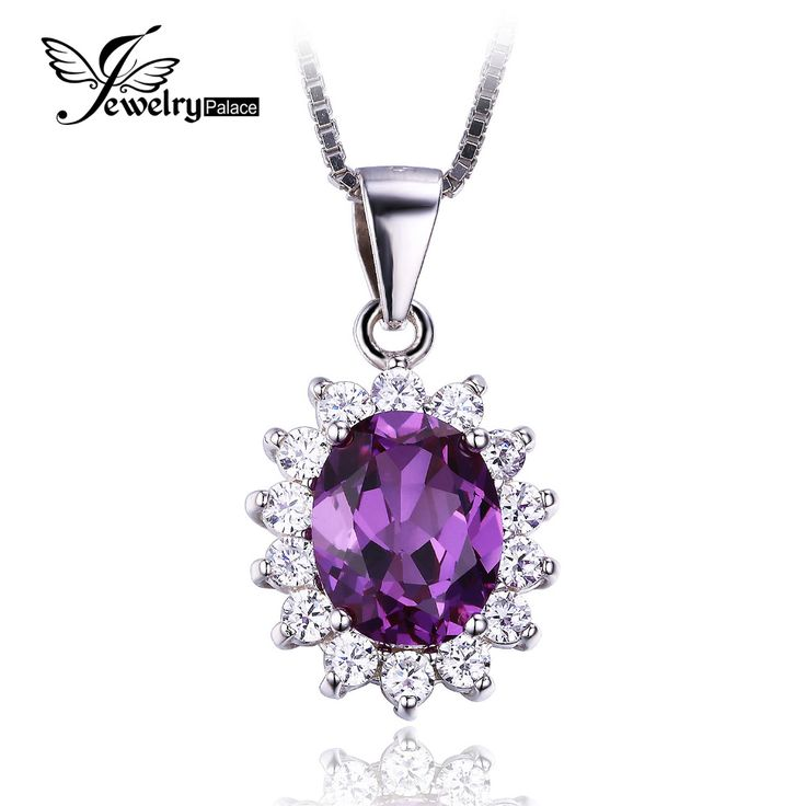 Jewelrypalace Princess Diana William Kate Middleton's 3.2ct Created Alexandrite Sapphire Pendant 925 Sterling Silver For Women