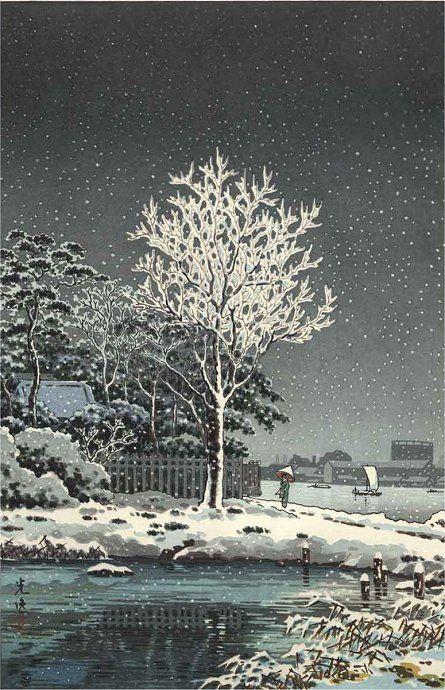 Snow on Sumida River, woodblock print, by Tsuchiya Koitsu, 1934 -- See also at: http://leakstev.blogspot.fr/2009/12/well-of-dreams.html